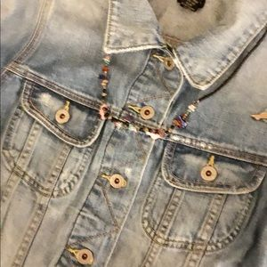 Lucky Brand Distressed Cropped Jean Jacket